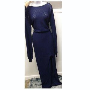 Navy Knit Long Sleeve Asymmetrical Dress w/ Sit